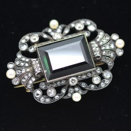 Antique Brooch Gold Diamond Tourmaline Pearl Victorian w Appraisal (4199)