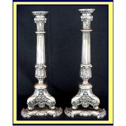 JUDAICA STERLING SILVER SABBATH CANDLESTICKS C 1800 (ID:1676)