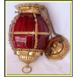 ANTIQUE CRANBERRY RUBY GLASS HALL LAMP BRASS (ID:3652)
