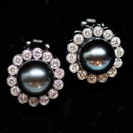 Vintage Earrings Tahitian Pearl Diamond 18k Gold Ear Clips w Appraisal (5905)