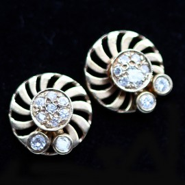 Vintage Retro Pop Earrings Gold Diamond Flower Kinetic w Appraisal (5913)