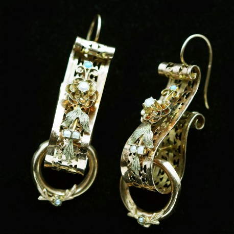 Antique Victorian Earrings 15k Gold Scrolls w Pearls & Turquoise English (6087)
