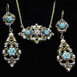 Antique Georgian French Earrings Necklace Gold Turquoise Pearls Enamel (6232)