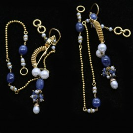 Vintage Earrings w Long Chains Gold Pearls Sapphires 1920-30s India (5740)