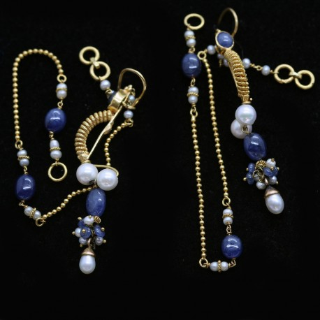 Long Earrings w Chains Gold Natural Pearls and Sapphires c1920-30s India (ID:5740)