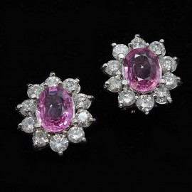 Vintage Retro Earrings Pink Sapphires Diamonds White Gold 1940-50's (ID:5273)