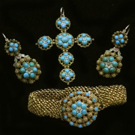 Antique Georgian Parure Gold Cannetille Turquoise Earrings Cross 5432