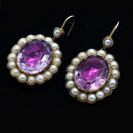Antique Georgian Earrings Amethyst Pearls 15ct Gold Drop Earrings (ID:5381)