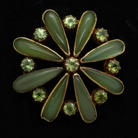 Antique Brooch Carlo Arthur Giuliano Gold Demantoid Garnet Nephrite Jade (ID:5401)