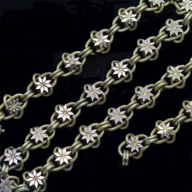 Antique Victorian Chain Necklace 15k Gold Large twisted Links w Stars (5680)