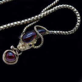 Antique Victorian Snake Necklace Snake Locket 14k Gold Garnet Carbuncle (6279)