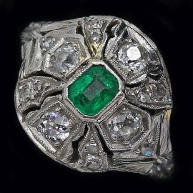 Antique Edwardian Ring Platinum Gold Diamonds Emerald w Appraisal Certificate (4038)