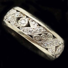 Vintage Wedding Band Diamond Gold Ring Retro Wedding Ring White GOld (ID:5886)