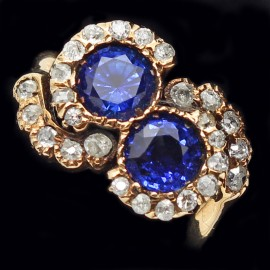 Antique Art Nouveau Ring Gold Diamonds Sapphires Swirling Movement (ID:5478)