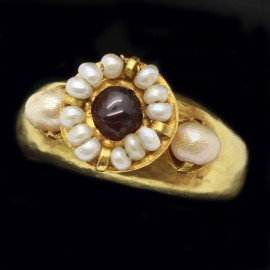 Antique Antiquity Byzantine Ring Gold Garnet Natural Pearl 6-9th Century (ID:5659)