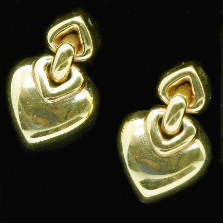 Boxed Bulgari Bvlgari Earrings Ear Clips Gold Triple Heart Ear Pendants (ID:5907)