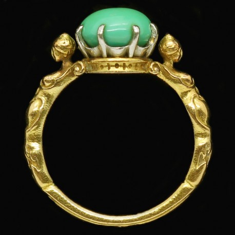 Antique Signed Wiese Ring Neo Renaissance 18k Gold Turquoise Figural (6085)