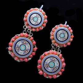 Victorian French Earrings Coral Enamel Gilt Metal Napoleon III Antique (6315)