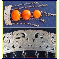 ANTIQUE SILVER AMBER BAKELITE CHATELAINE PIN (ID:3718)
