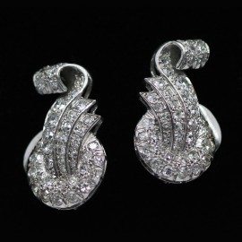 Antique Art Deco Platinum Diamond Earrings Silver Clips French c1930 (5941)