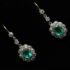 Antique Victorian Gold Emerald Diamond Earrings Dangle Pendant Earrings (ID:5769)