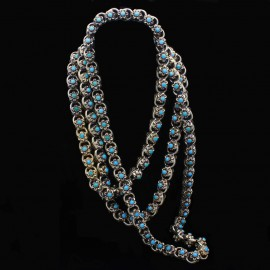 Antique Victorian Necklace Sautoir Muff Chain Gold Turquoise c1840-60 (6354)