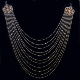 Antique Victorian Etruscan Revival Necklace 14 18k Gold Pearls Cannetille (6356)