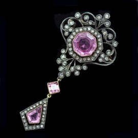 Antique Victorian Pendant Brooch Tourmaline Diamonds Gold Silver Appraisal (5807