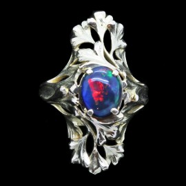 Antique Art Nouveau Ring 18k Gold Black Opal French Henri-Victor Miault (6105)