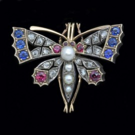 Antique Victorian Brooch Pendant Ruby Diamond Sapphire Pearl Butterfly (3906)