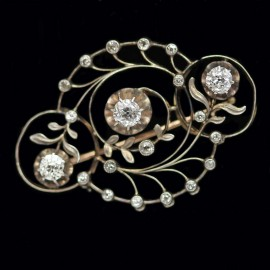 Art Nouveau Imperial Russian Brooch Diamonds Gold Silver w Appraisal (ID:5214)