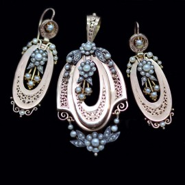 Antique Victorian Parure Earrings Pendant Brooch Set Gold Pearls French (5623)