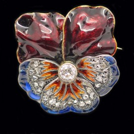 Antique Brooch Pin Pansy Gold Diamonds Plique a Jour Enamel (4212)