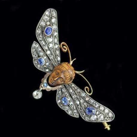 Antique French Brooch Pendant Gold Diamonds Sapphires Mercury & Butterfly (6103)