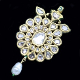 Antique Pendant 22k Gold Diamonds Pearl  Enamel Mughal Maharaja  Indian (4923)