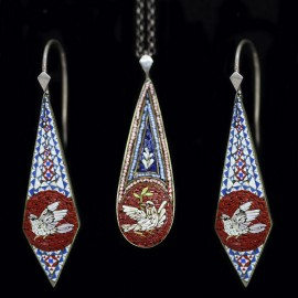 Antique Micro Mosaic Earring Set Doves (4597)