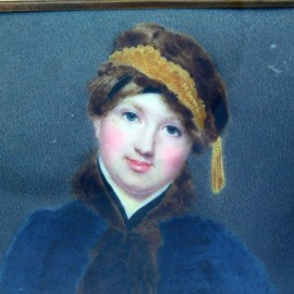 Antique Georgian Miniature Portrait Painting Woman attrib Charles Jagger (6375)
