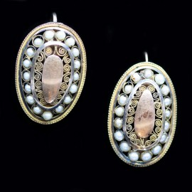 Antique Napoleon I Imperial Earrings Gold Pearls Cannetille Georgian (ID:5619)