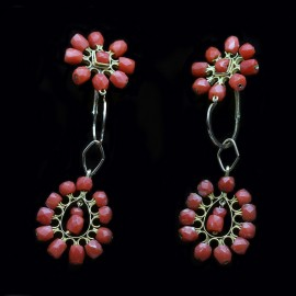 Antique Georgian French Empire Earrings Day Night Ear Pendants Gold Coral (ID:5433)