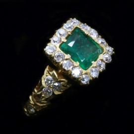 Antique Vintage Ring 22k Gold Emerald Diamonds Maharaja Mughal Indian (4909)
