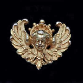 Antique Victorian Brooch Wiese 18k Gold French Head of Angel Signed WIESE (6371)