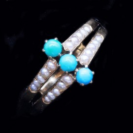 Antique Georgian Ring 18k Gold Turquoise Natural Pearls (6382)