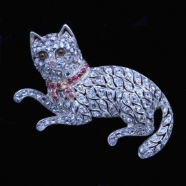 Antique Cat Brooch Gold Diamonds Silver Rubies Amber (6508)