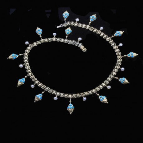 Antique Victorian Necklace 14k Gold Turquoise Pearls Revivalist (6504)