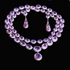 Victorian Necklace Earrings Set Day Night Double Riviere Amethyst Gold (6499)