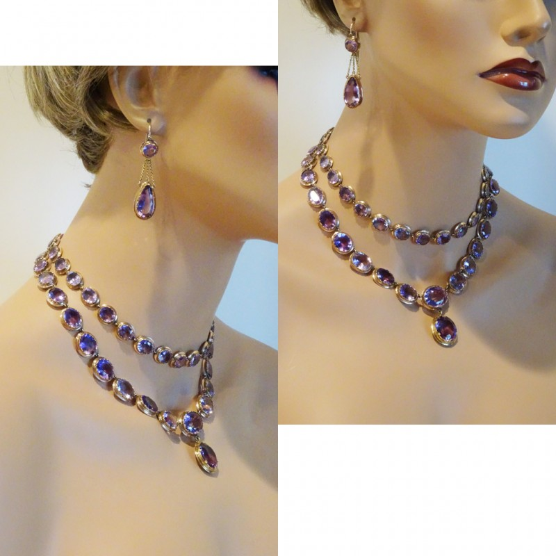 Victorian Necklace Earrings Set Day Night Double Riviere