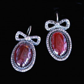 Antique early Georgian Earrings Garnet Bows Gold Silver Pyrite c1740 (6496)