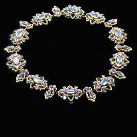 Antique Georgian / Victorian Necklace Gold Aquamarine Natural Pink Topaz (6495)