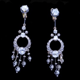 Antique Victorian Earrings Diamonds 18k Gold on Silver French Ear Pendants (6543)
