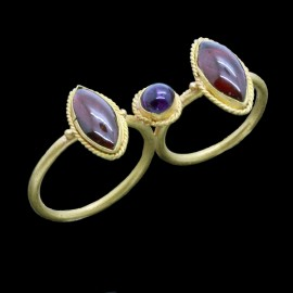 Antique Ancient Greek Hellenistic Double Ring Garnets Amethyst 20k Gold (6030)